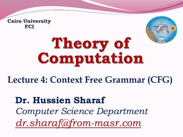 Dr. Hussien Sharaf Computer Science Department dr.sharaf@from-masr.com