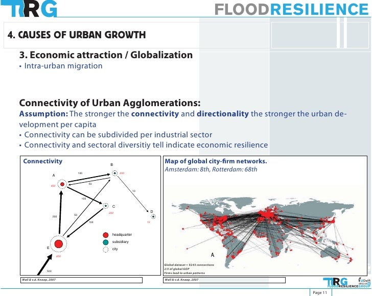 FLOODRESILIENCE 4. CAUSES OF URBAN GROWTH   3. Economic attraction / Globalization   • Intra-urban migration      Connecti...