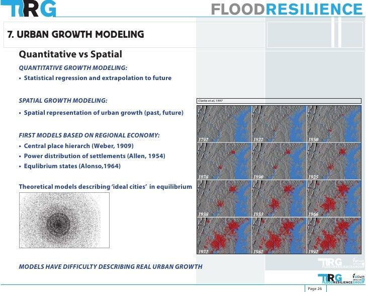 FLOODRESILIENCE 7. URBAN GROWTH MODELING  Quantitative vs Spatial  QUANTITATIVE GROWTH MODELING:  • Statistical regression...