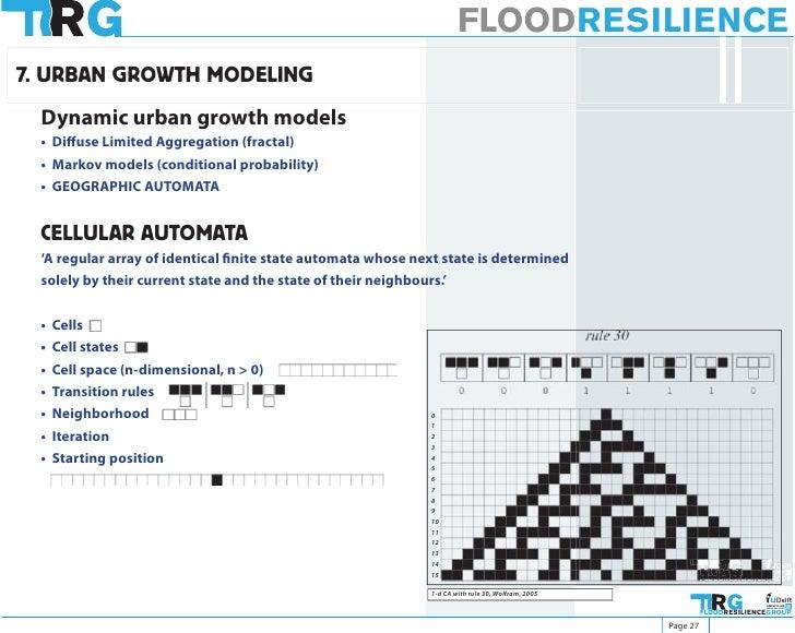 FLOODRESILIENCE 7. URBAN GROWTH MODELING  Dynamic urban growth models  • Diffuse Limited Aggregation (fractal)  • Markov m...