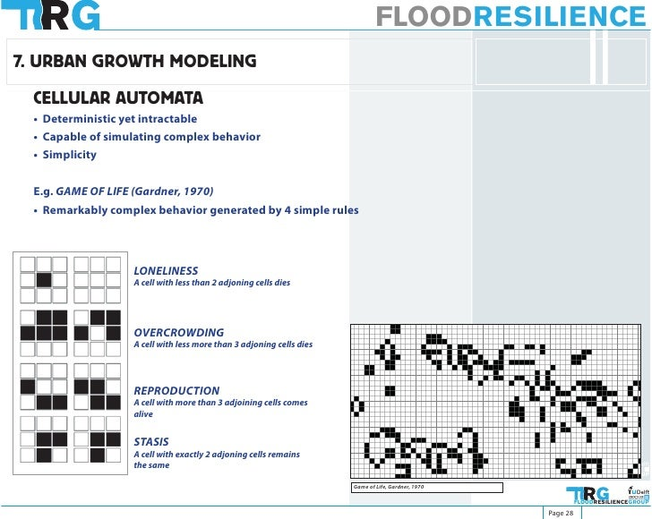 FLOODRESILIENCE 7. URBAN GROWTH MODELING   CELLULAR AUTOMATA  • Deterministic yet intractable  • Capable of simulating com...