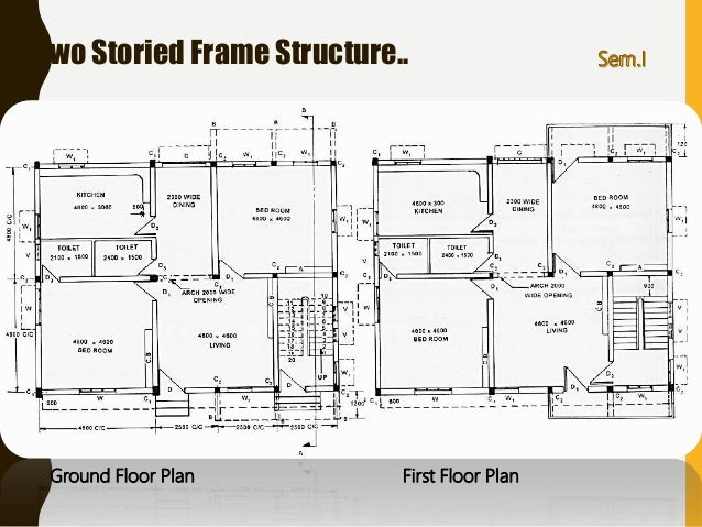 Basics components of building drawing for civil engineers two storied frame structure publicscrutiny Images