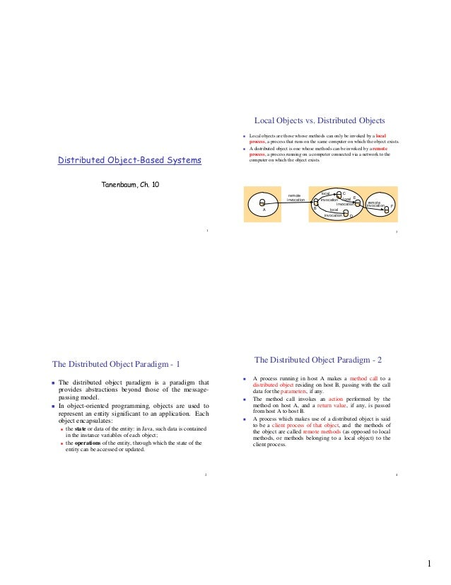 Local Objects vs. Distributed Objects                                                                      Local objects a...