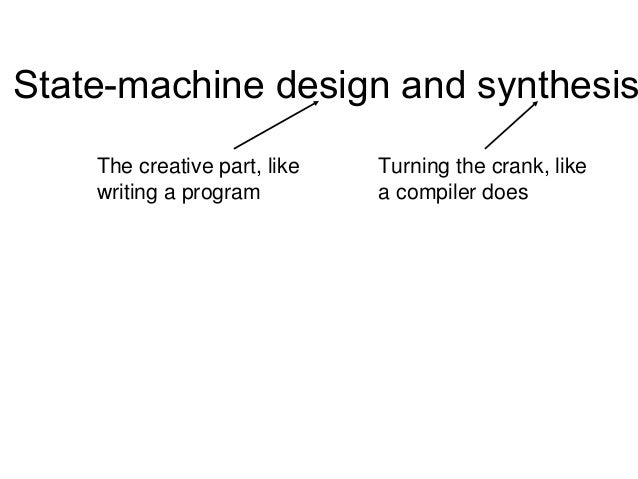 State-machine design and synthesis    The creative part, like   Turning the crank, like    writing a program         a com...