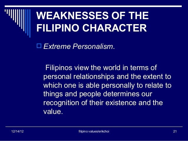 the work values of filipinos Lucas banzon madamba ii, pennsylvania, usa: filipinos are mostly disciplined in all aspects and areas of life they also make sure that the work is properly done before they call it a day&nbsp.