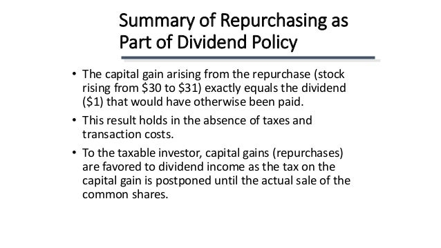 dividend policy and stock repurchases Chapter 16 payout policy stock dividend (iv) the most important difference between stock repurchases and cash dividends is that they (i.