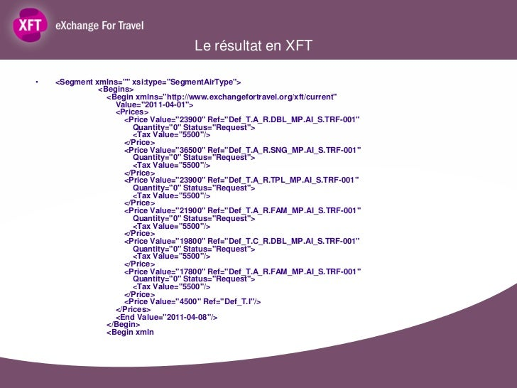 "Le résultat en XFT•   <Segment xmlns="""" xsi:type=""SegmentAirType"">              <Begins>                <Begin xmlns=""http..."