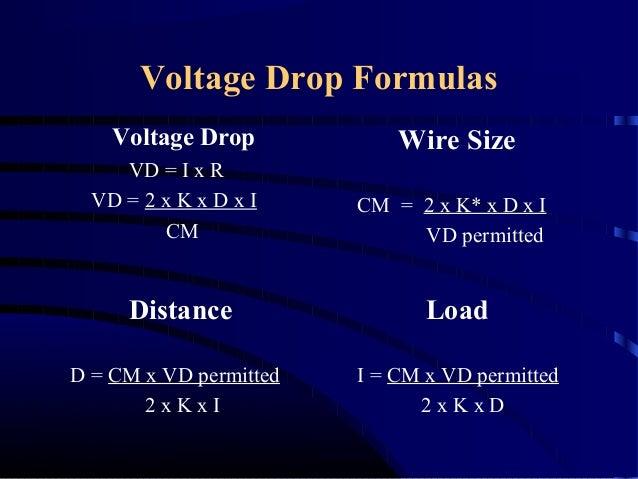 Voltage Drop Formula : Le calculations