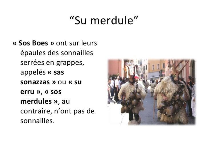 """"""" Su merdule"""" «Sos Boes»  ont sur leurs épaules des sonnailles serrées en grappes, appelés  «sas sonazzas»  ou  «su e..."""