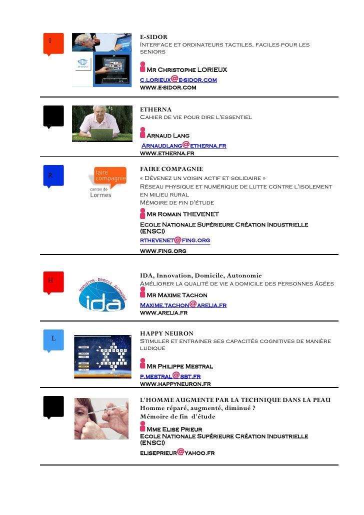 E-SIDOR I         Interface et ordinateurs tactiles, faciles pour les         seniors            Mr Christophe LORIEUX    ...