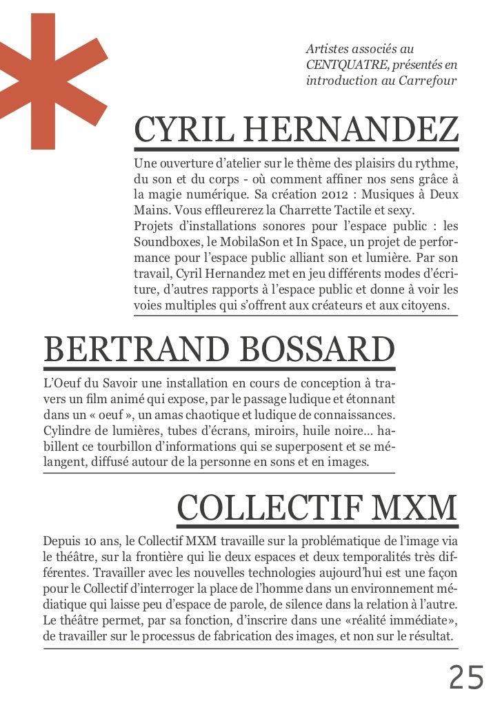 Artistes associés au                                                            CENTQUATRE, présentés en            ...