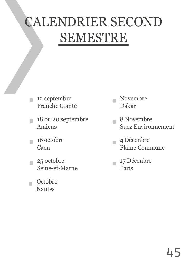 CALENDRIER SECOND     SEMESTRE  12 septembre      Novembre Franche Comté     Dakar Amiens             Suez Environne...