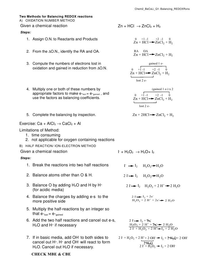Chem2_BeCsLi_Q1: Balancing_REDOXRxns  Two Methods for Balancing REDOX reactions A) OXIDATION NUMBER METHOD Given a chemica...