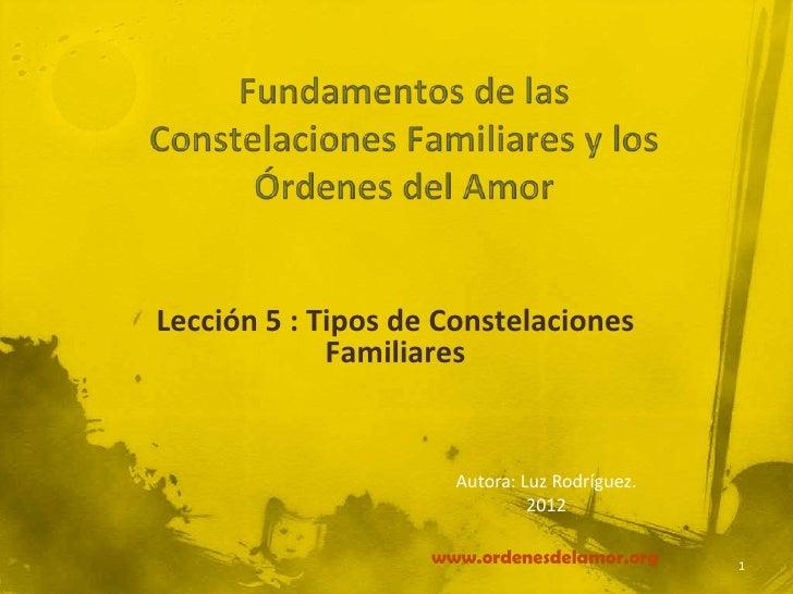 Lección 5 : Tipos de Constelaciones             Familiares                      Autora: Luz Rodríguez.                    ...