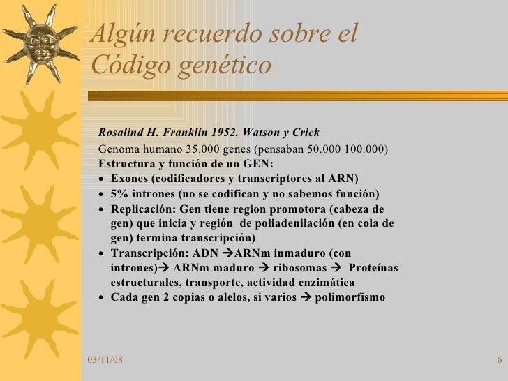 Algún recuerdo sobre el  Código genético