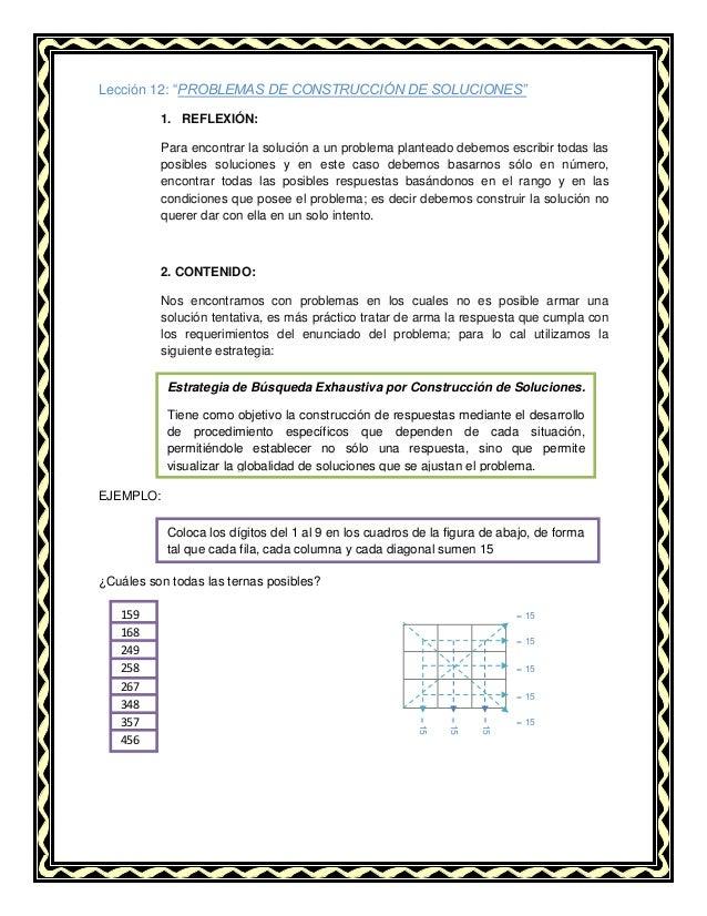 """Lección 12: """"PROBLEMAS DE CONSTRUCCIÓN DE SOLUCIONES"""" 1. REFLEXIÓN: Para encontrar la solución a un problema planteado deb..."""