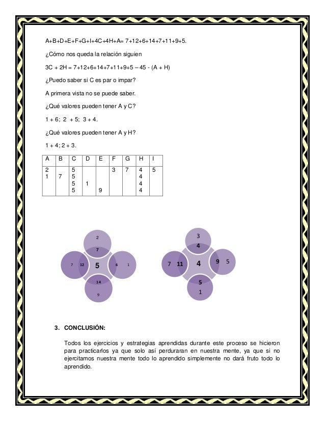 A+B+D+E+F+G+I+4C+4H+A= 7+12+6+14+7+11+9+5. ¿Cómo nos queda la relación siguien 3C + 2H = 7+12+6+14+7+11+9+5 – 45 - (A + H)...