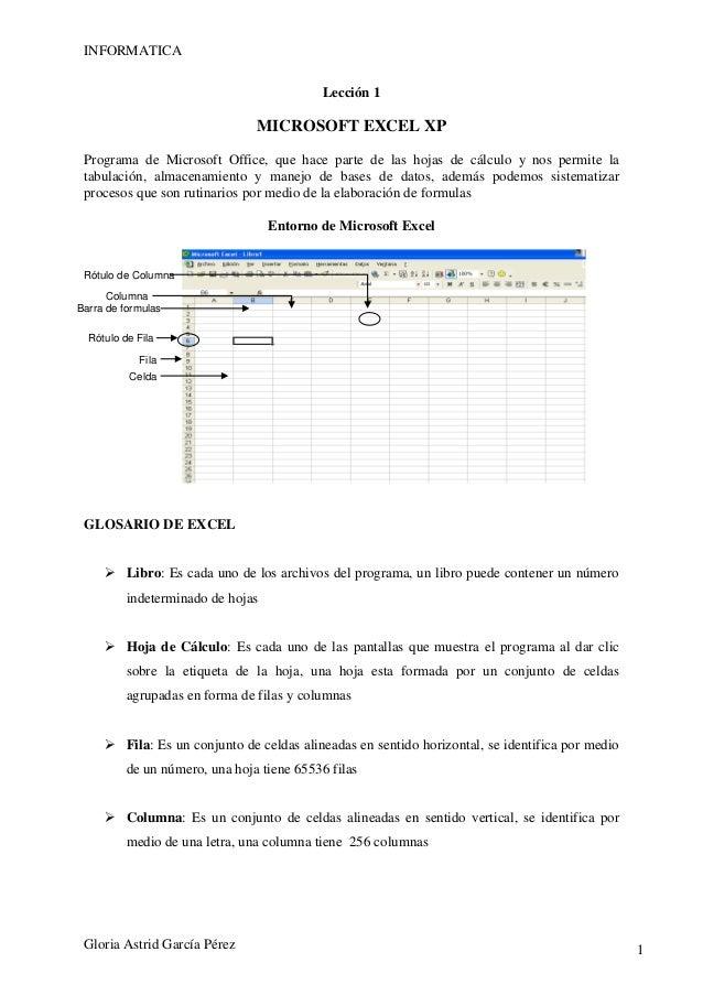 INFORMATICA                                           Lección 1                                MICROSOFT EXCEL XP Programa...