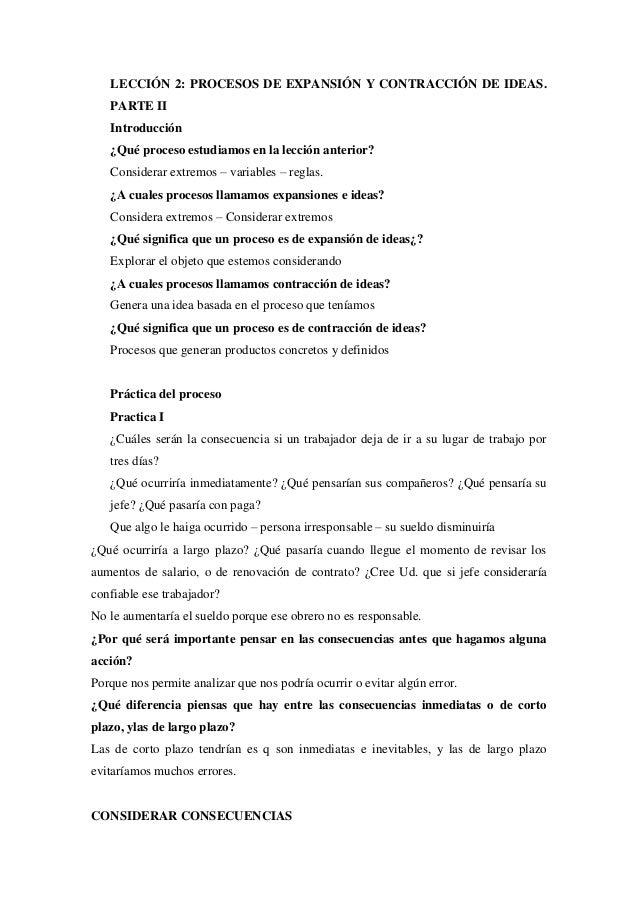 LECCIÓN 2: PROCESOS DE EXPANSIÓN Y CONTRACCIÓN DE IDEAS. PARTE II Introducción ¿Qué proceso estudiamos en la lección anter...