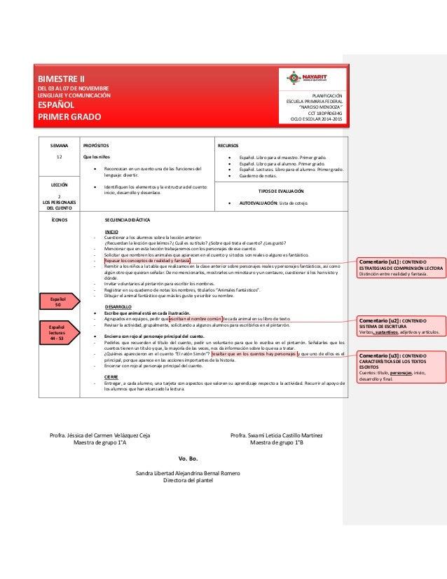 BIMESTRE II  DEL 03 AL 07 DE NOVIEMBRE  LENGUAJE Y COMUNICACIÓN  ESPAÑOL  PRIMER GRADO  PLANIFICACIÓN  ESCUELA PRIMARIA FE...