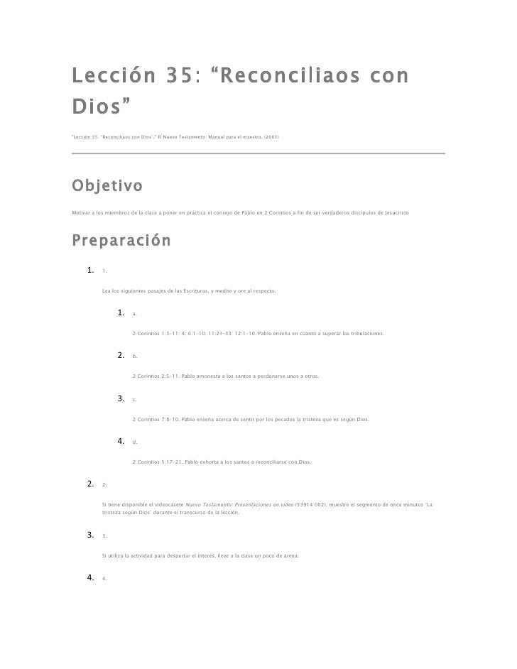 """Lección 35: """"Reconciliaos conDios""""""""Lección 35: """"Reconciliaos con Dios"""","""" El Nuevo Testamento: Manual para el maestro, (200..."""