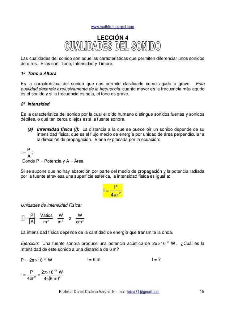 www.mathfis.blogspot.com                                              LECCIÓN 4   Las cualidades del sonido son aquellas c...