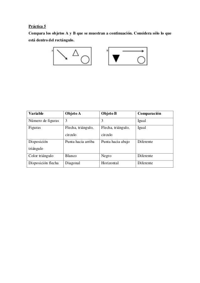 Práctica 5 Compara los objetos A y B que se muestran a continuación. Considera sólo lo que está dentro del rectángulo.  Va...