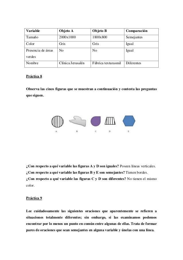 Variable  Objeto A  Objeto B  Comparación  Tamaño  2000x1000  1800x800  Semejantes  Color  Gris  Gris  Igual  Presencia de...