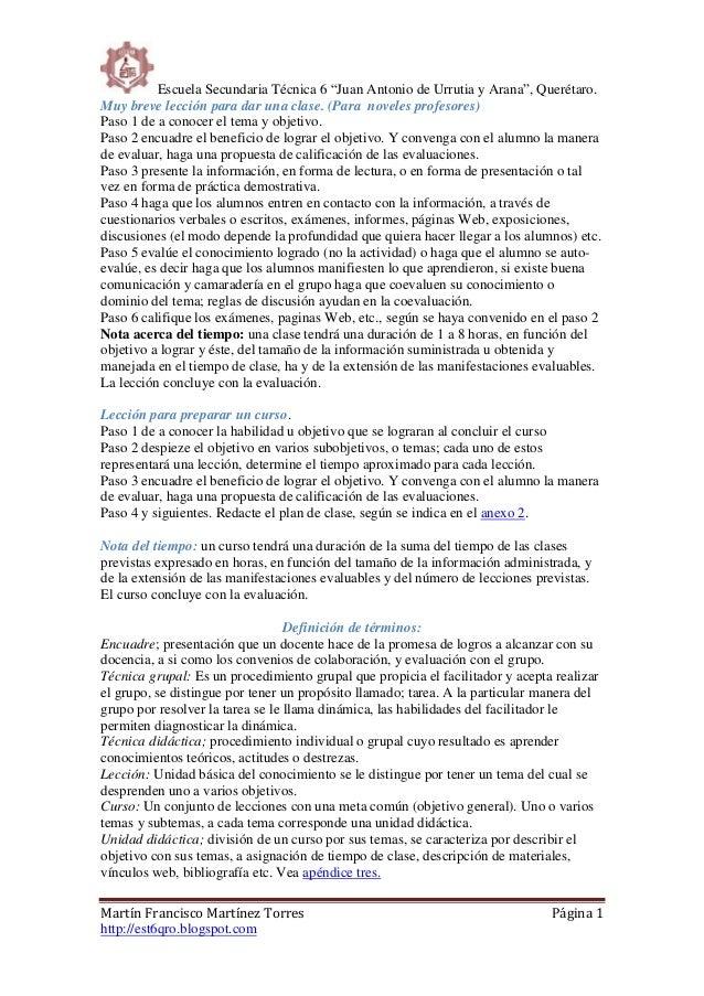 """Escuela Secundaria Técnica 6 """"Juan Antonio de Urrutia y Arana"""", Querétaro. Martín Francisco Martínez Torres Página 1 http:..."""