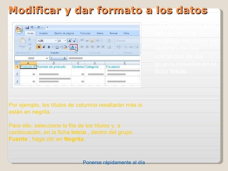 Modificar y dar formato a los datos                                                           Lasoperacionespara       ...
