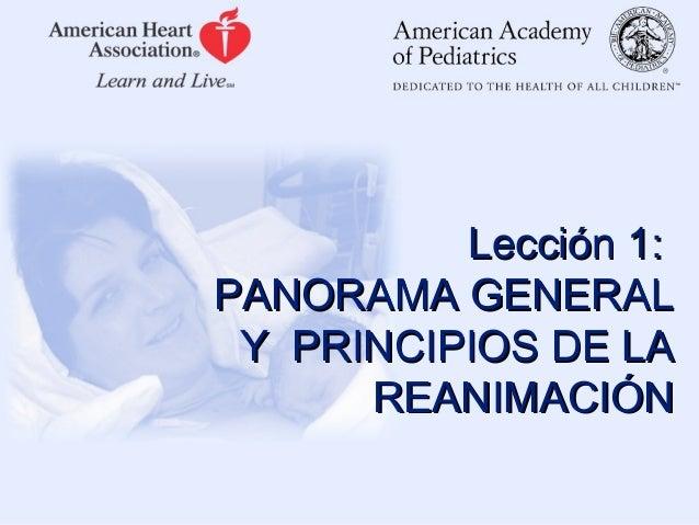 Lección 1: PANORAMA GENERAL Y PRINCIPIOS DE LA REANIMACIÓN