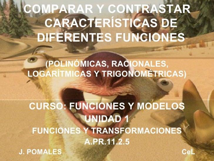 (POLINÓMICAS, RACIONALES, LOGARÍTMICAS Y TRIGONOMÉTRICAS) CURSO: FUNCIONES Y MODELOS UNIDAD 1 FUNCIONES Y TRANSFORMACIONES...
