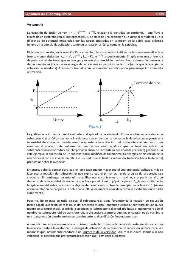 Apuntes de Electroquímica OCW 1 Voltametría  LaecuacióndeButler‐Volmer,j=j0[e(1‐)f ‐e‐f ],relacionalade...
