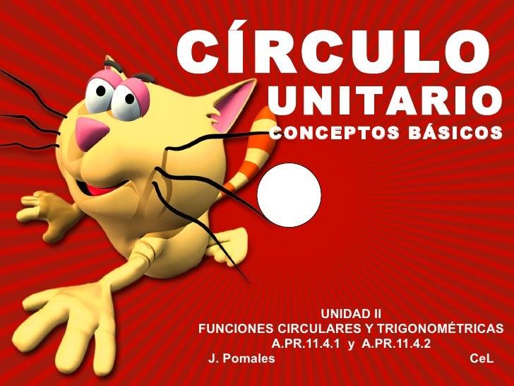 CÍRCULO UNIDAD II FUNCIONES CIRCULARES Y TRIGONOMÉTRICAS A.PR.11.4.1  y  A.PR.11.4.2 J. Pomales  CeL UNITARIO CONCEPTOS BÁ...