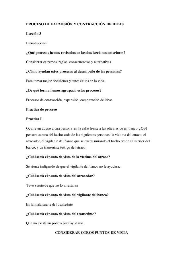 PROCESO DE EXPANSIÓN Y CONTRACCIÓN DE IDEAS Lección 3 Introducción ¿Qué procesos hemos revisados en las dos lecciones ante...