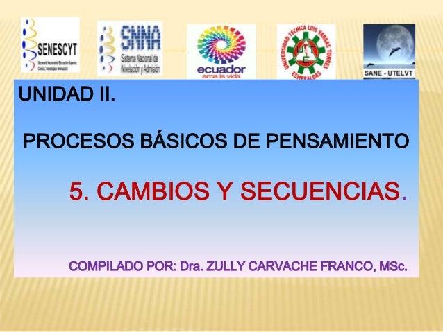 UNIDAD II.  PROCESOS BÁSICOS DE PENSAMIENTO  5. CAMBIOS Y SECUENCIAS. COMPILADO POR: Dra. ZULLY CARVACHE FRANCO, MSc.