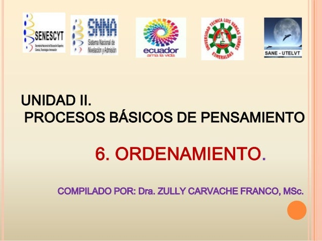 UNIDAD II. PROCESOS BÁSICOS DE PENSAMIENTO  6. ORDENAMIENTO. COMPILADO POR: Dra. ZULLY CARVACHE FRANCO, MSc.