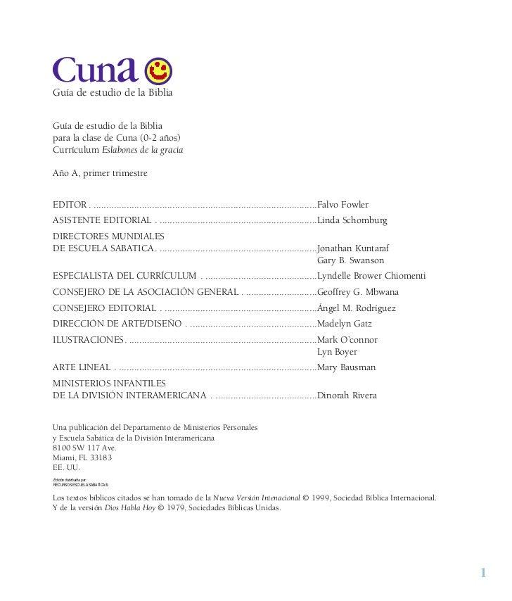 CunaGuía de estudio de la BibliaGuía de estudio de la Bibliapara la clase de Cuna (0-2 años)Currículum Eslabones de la gra...