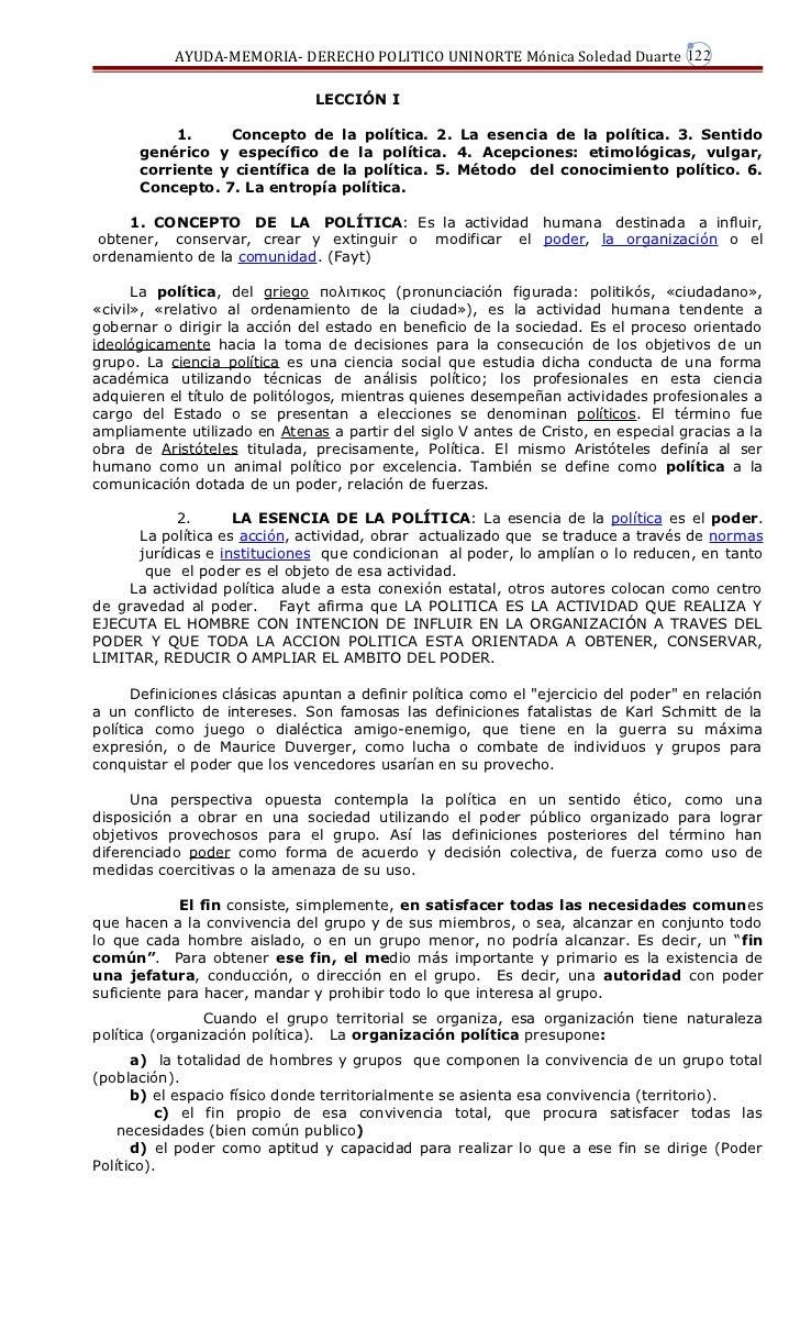 AYUDA-MEMORIA- DERECHO POLITICO UNINORTE Mónica Soledad Duarte 122                               LECCIÓN I           1.   ...