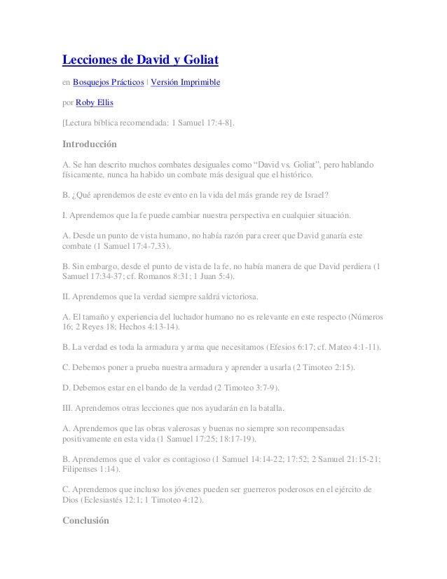 Lecciones de David y Goliaten Bosquejos Prácticos | Versión Imprimiblepor Roby Ellis[Lectura bíblica recomendada: 1 Samuel...
