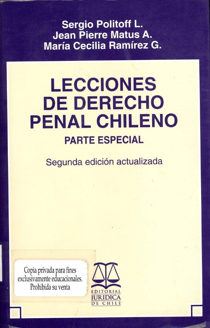 Lecciones de Derecho Penal - Parte Especial (varios autores chilenos)