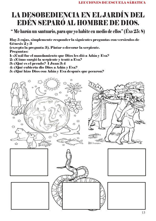 Leccion infantil de escuela sabatica el tabernaculo a for Adan y eva en el jardin del eden para colorear