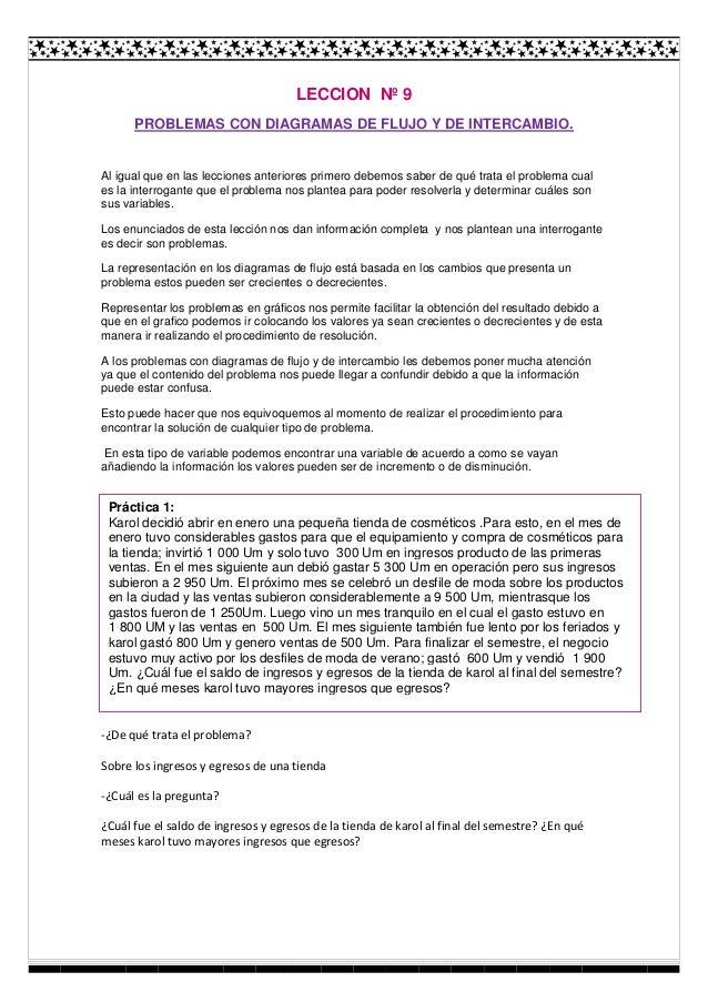 LECCION Nº 9 PROBLEMAS CON DIAGRAMAS DE FLUJO Y DE INTERCAMBIO.  Al igual que en las lecciones anteriores primero debemos ...