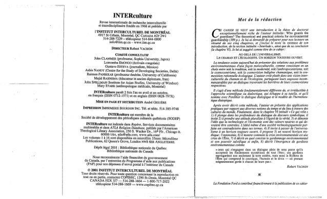 140-Le chaman et l'écologiste. P. Raine. (document à télécharger en format PDF, 3,5Mb).  Slide 2