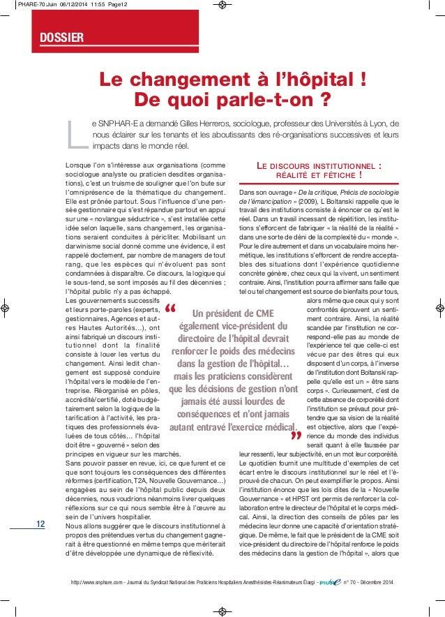 12 http://www.snphare.com - Journal du Syndicat National des Praticiens Hospitaliers Anesthésistes-Réanimateurs Élargi - n...