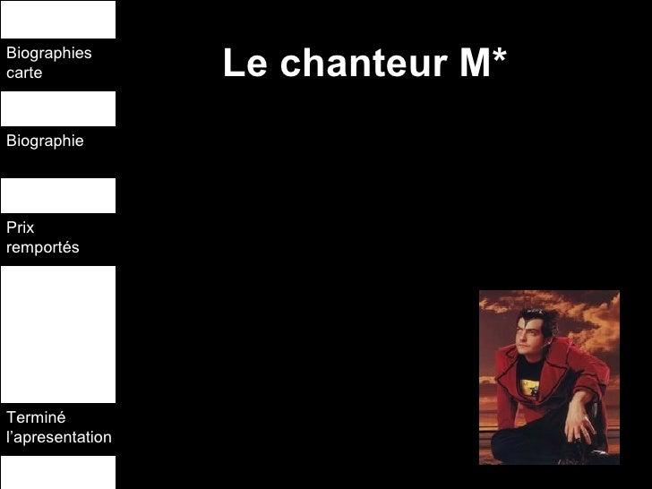 Le chanteur M* Biographies carte Biographie  Prix remportés  Terminé l'apresentation