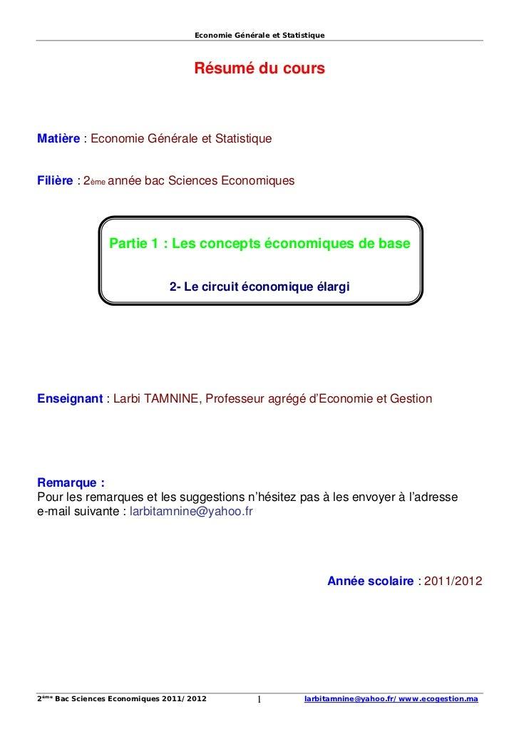 Economie Générale et Statistique                                    Résumé du coursMatière : Economie Générale et Statisti...