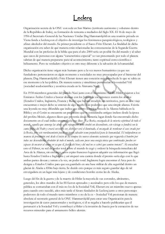 Leclerq Organización secreta de la ONU con sede en San Marino (territorio autónomo y soberano dentro de la República de It...