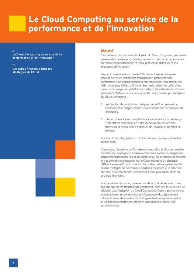 Le Cloud Computing au service de la            performance et de l'innovation2                                     RésuméL...