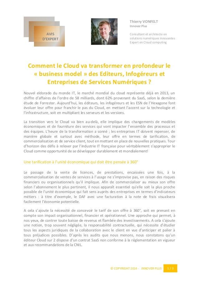 © COPYRIGHT 2014 - INNOVER PLUS 1 / 3  Thierry VONFELT  Innover Plus  Consultant et architecte en solutions numériques inn...